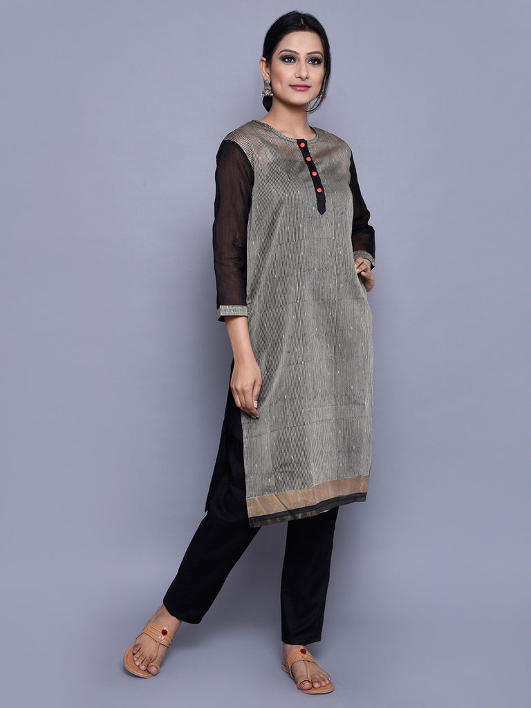 Beige Black Chanderi Straight Line Kurta with Cotton Lining
