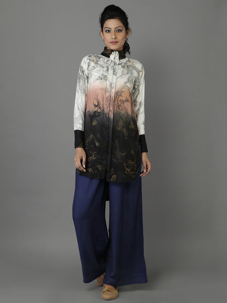 Beige Black Rayon Moss Marble Effect Shirt