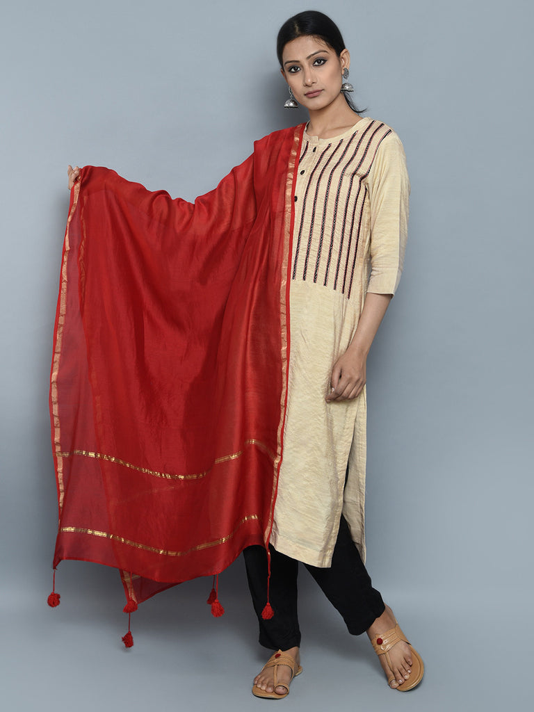 Beige Black Red Chanderi Cotton Silk Suit - Set of 3