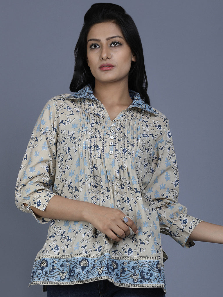 Beige Blue Printed Cotton Top