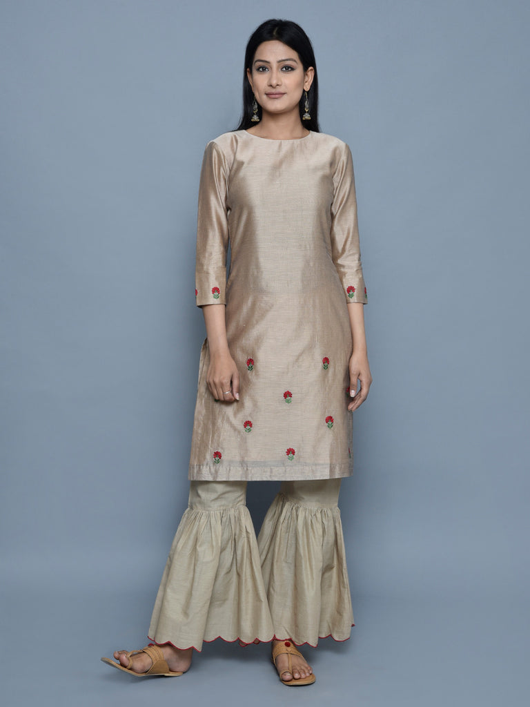 Beige Chanderi Embroidered Kurta with Cotton Scalloped Gharara - Set of 2