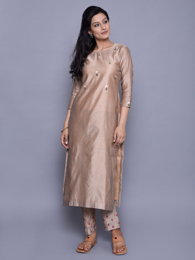 Beige Chanderi Embroidered Kurta
