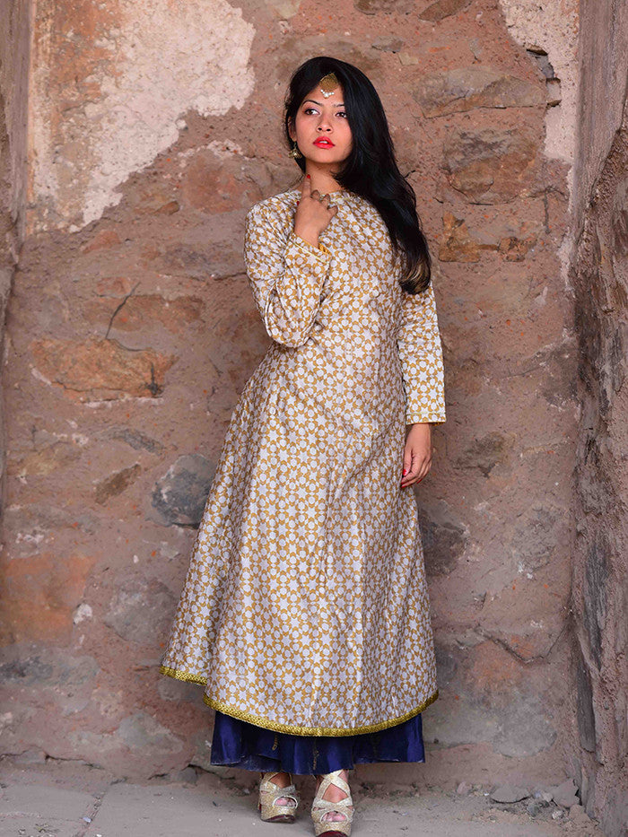 Beige Chanderi Kalidar Hand Block Print Kurta with Bird Printed Cotton Silk Palazzos