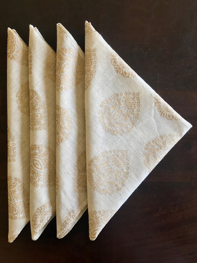 Beige Chanderi Silk Block Printed Fabric Napkins - Set of 4