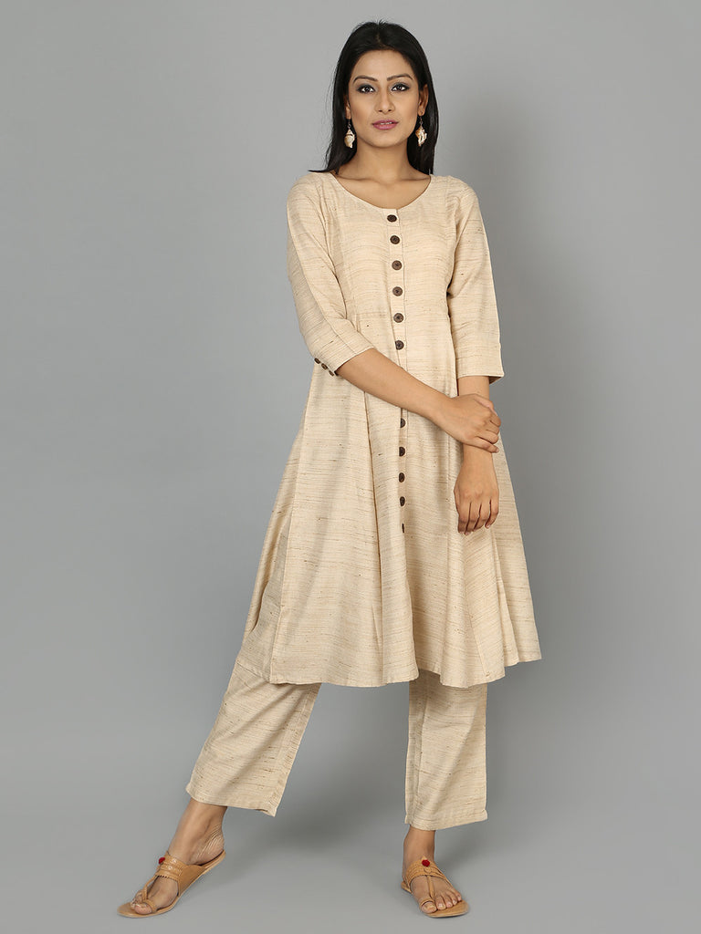 Beige Cotton Anarkali