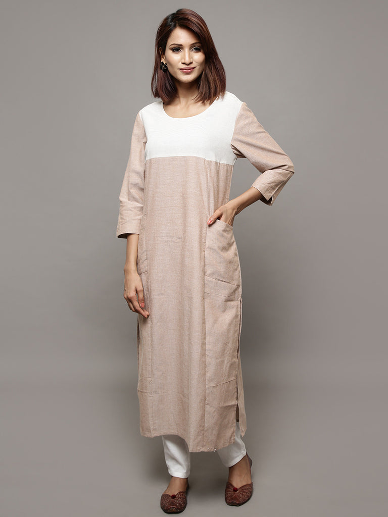 Beige Cotton Chambray Long Kurta
