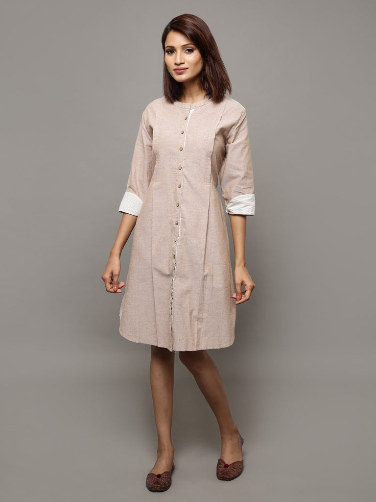 Beige Cotton Chambray Shirt Dress