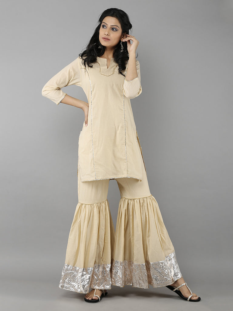 Beige Cotton Lappa Sharara