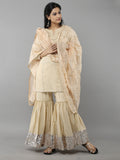 Beige Cotton Sharara Suit - Set of 3