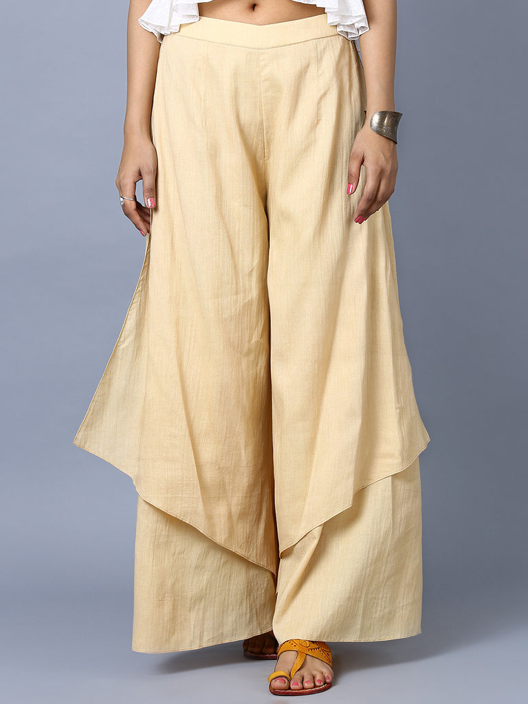 Beige Cotton Double Layered Pants
