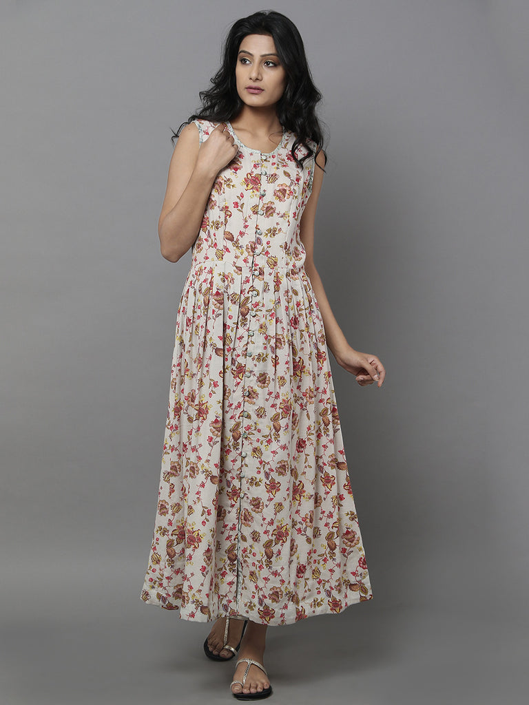 Beige Cotton Long Floral Dress