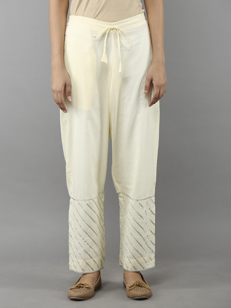 Beige Cotton Mulmul Ijar Pants