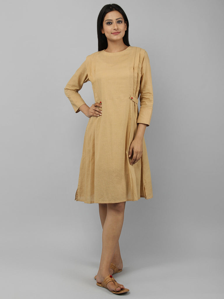 Beige Cotton Pleated Dress