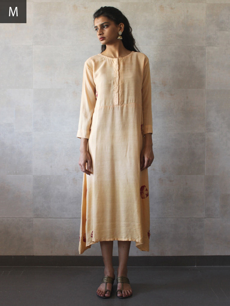 Beige Cotton Silk Bandhej Tunic