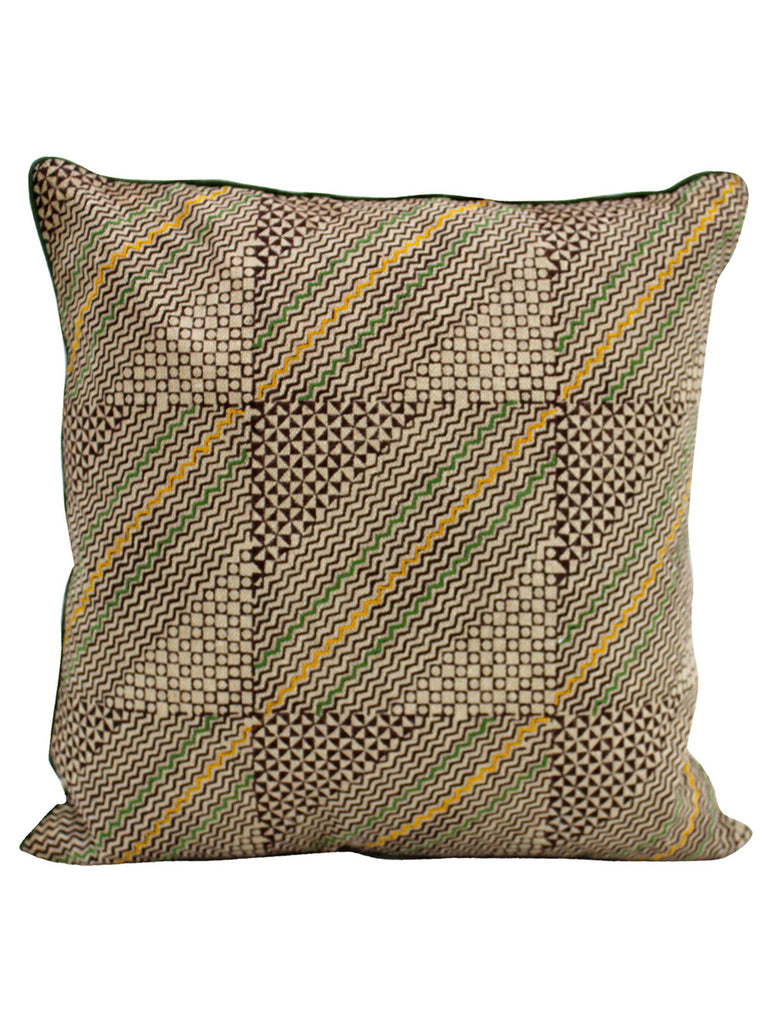 Beige Cotton Slub Block Printed and Embroidered Cushion Cover