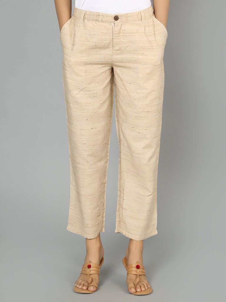 Beige Cotton Straight Cut Pants