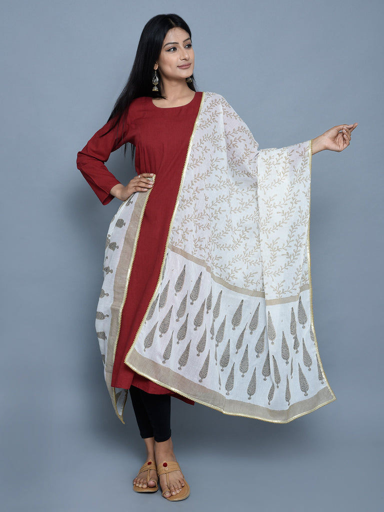 Beige Cotton Tree Print Dupatta