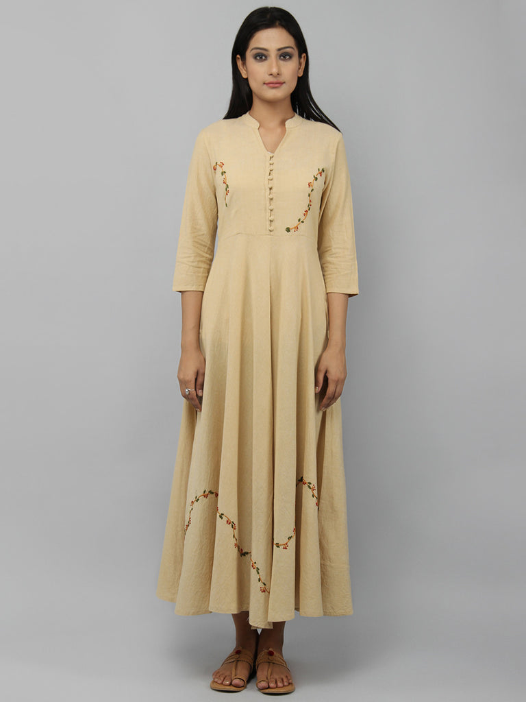 Beige Cotton Front Open Flared Kurta