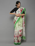 Beige-Green Digital Printed Handwoven Linen saree
