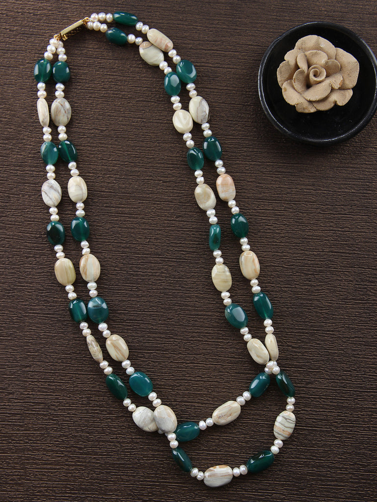 Beige Green Onyx Pearls and Quartz Double Strand Necklace