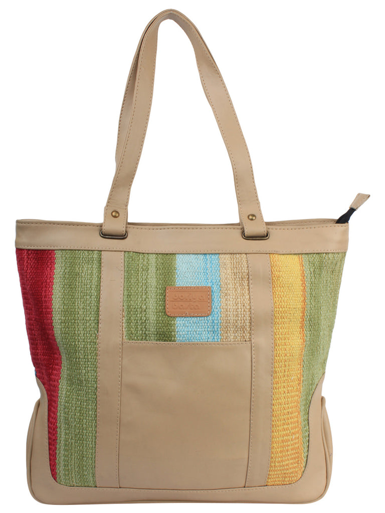 Beige Green Yellow Cotton Kilim Faux Leather Shopper Bag