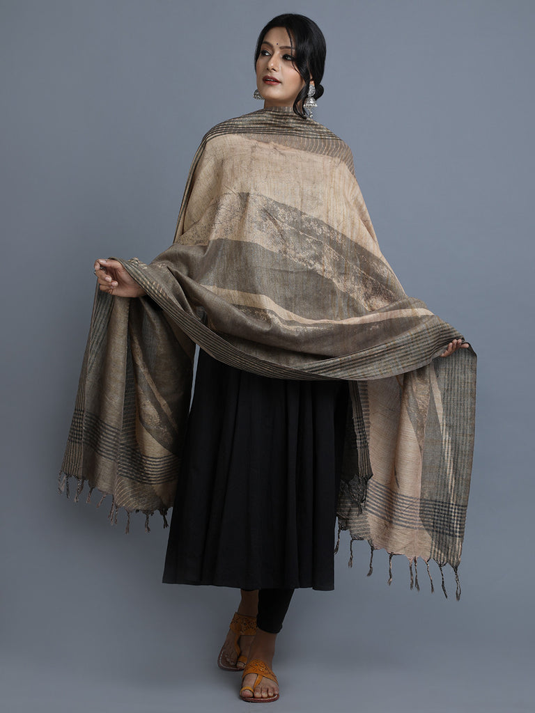 Beige Brown Block Printed Cotton Dupatta