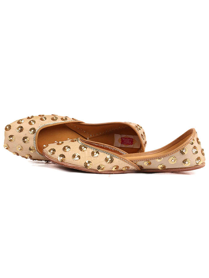 Beige Hand Embroidered Leather Mojari