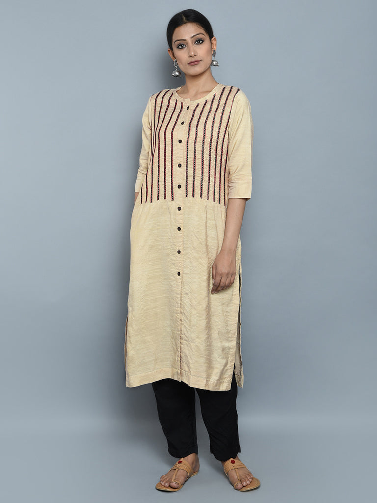 Beige Khadi Cotton Silk Hand Embroidered Kurta