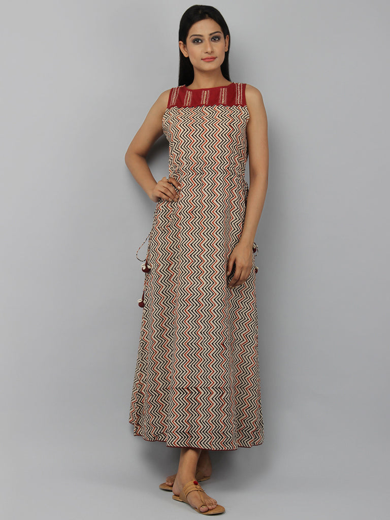 Beige Maroon Hand Block Printed Cotton Maxi Dress