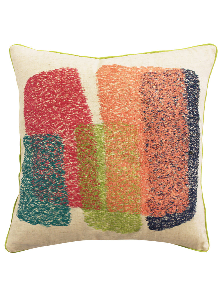 Multi Color Cotton Linen Embroidered Cushion Cover