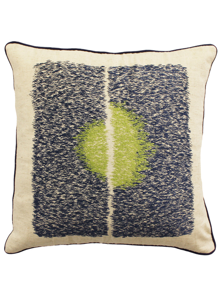 Ivory Navy Green Cotton Linen Embroidered Cushion Cover