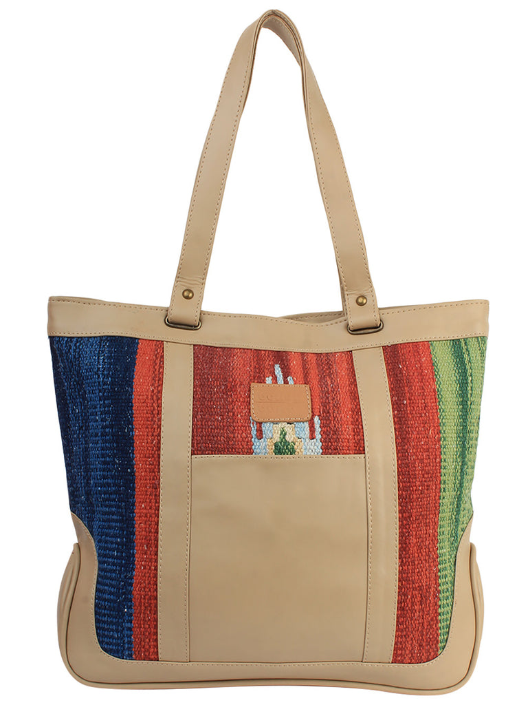 Beige Red Blue Cotton Kilim Faux Leather Shopper Bag