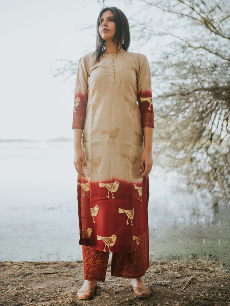Beige Red Chanderi Bird Printed Kurta and Cotton Palazzo - Set of 2