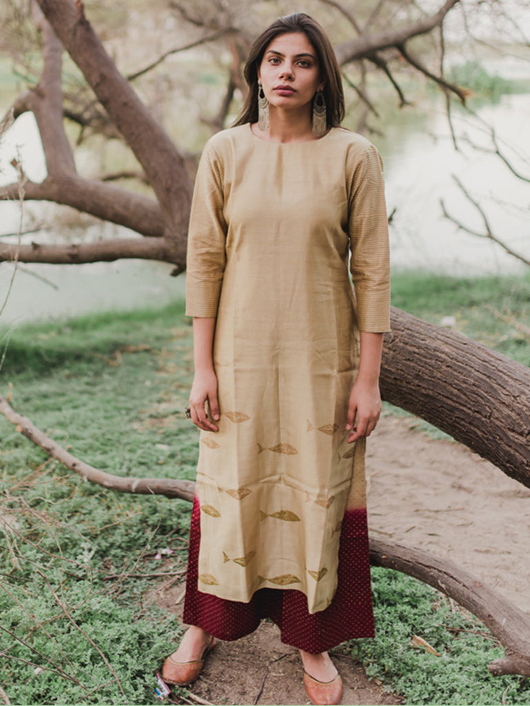 Beige Fish Printed Chanderi Kurta