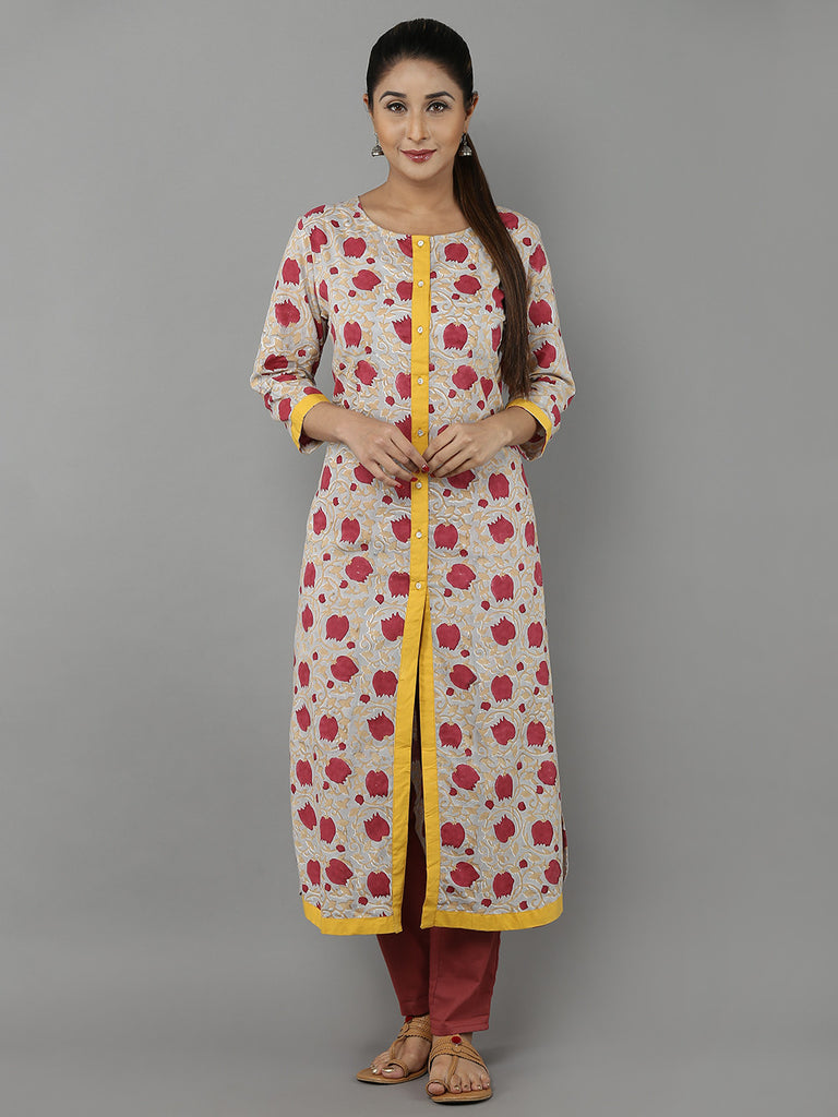 Beige Red Hand Block Printed Cotton Kurta