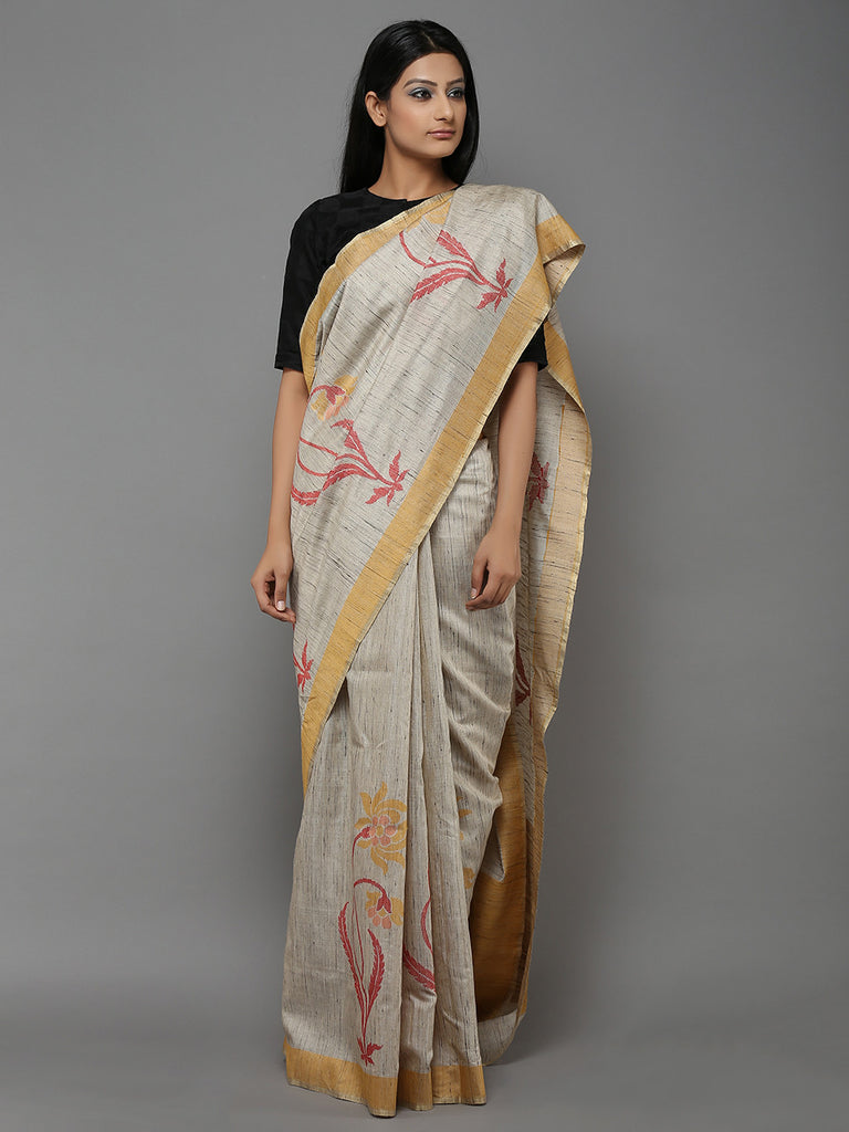 Grey Handwoven  Banarasi Tussar Silk Saree