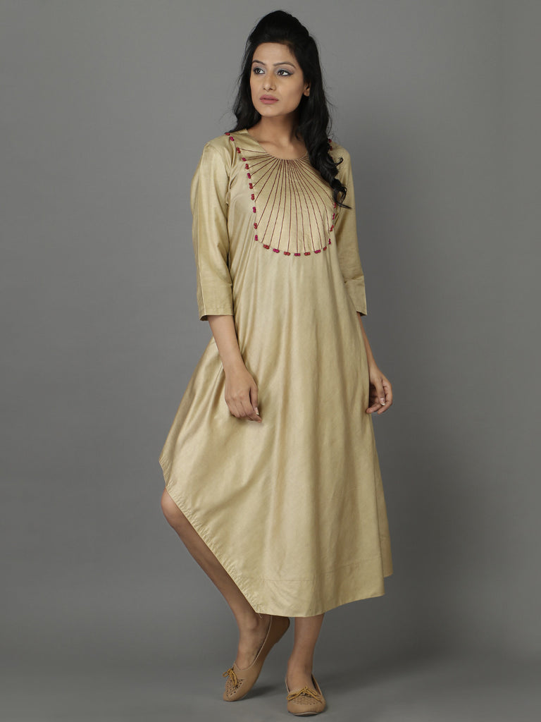 Beige Cotton Silk Asymmetrical Tunic