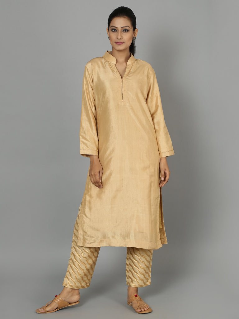 Beige Silk Kurta with Pants - Set of 2