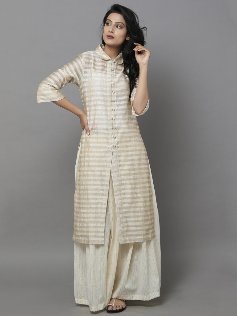 Beige Striped Chanderi Shirt