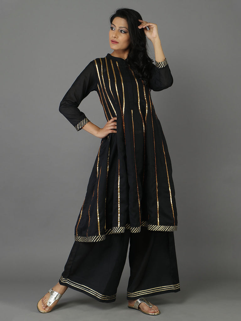 Black 36 Kali Cotton Mulmul Kurta