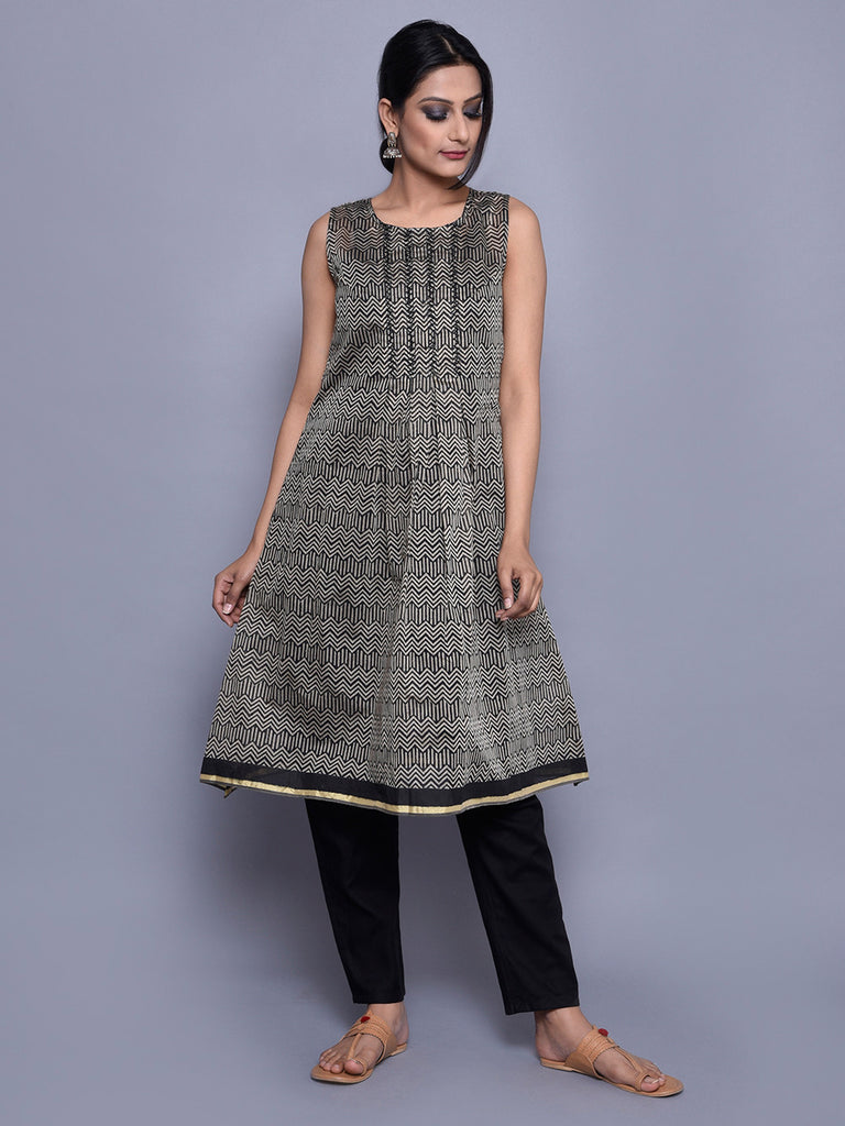 Black Beige Block Printed Chanderi Flared Kurta