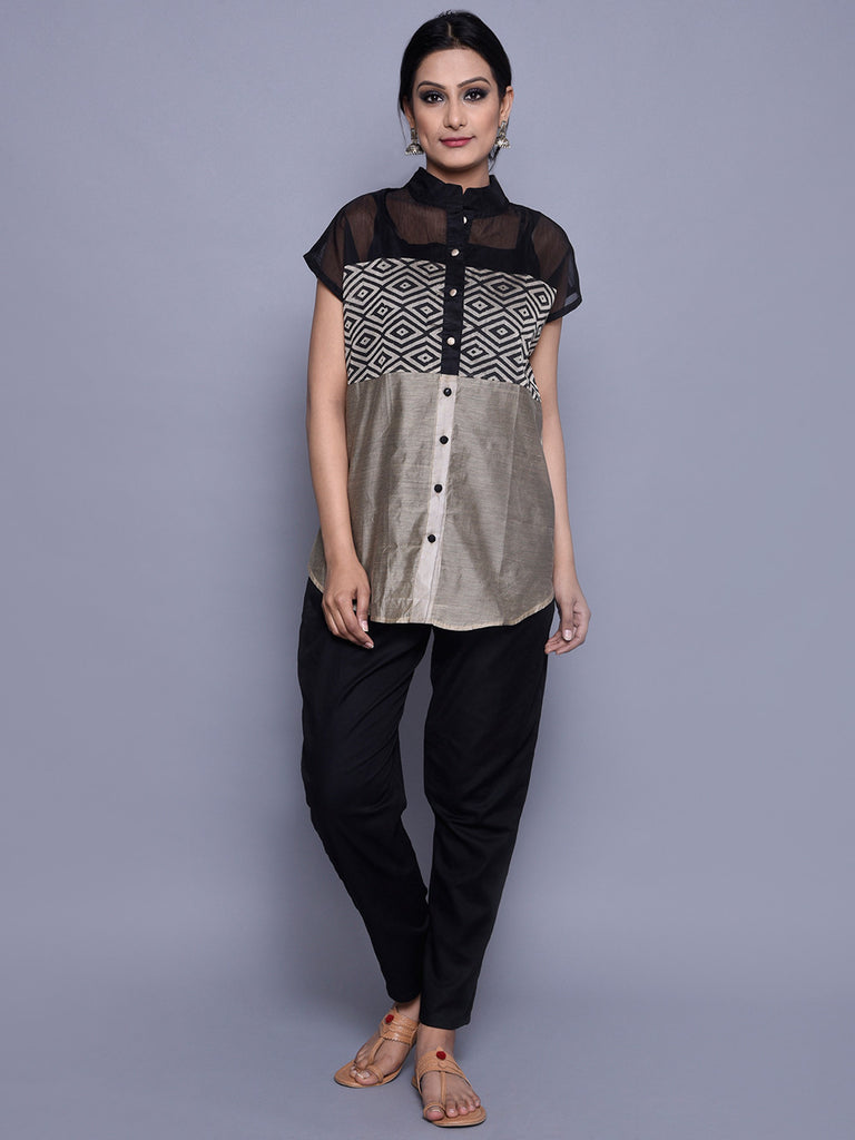 Black Beige Chanderi Shirt with Horizontal Panels