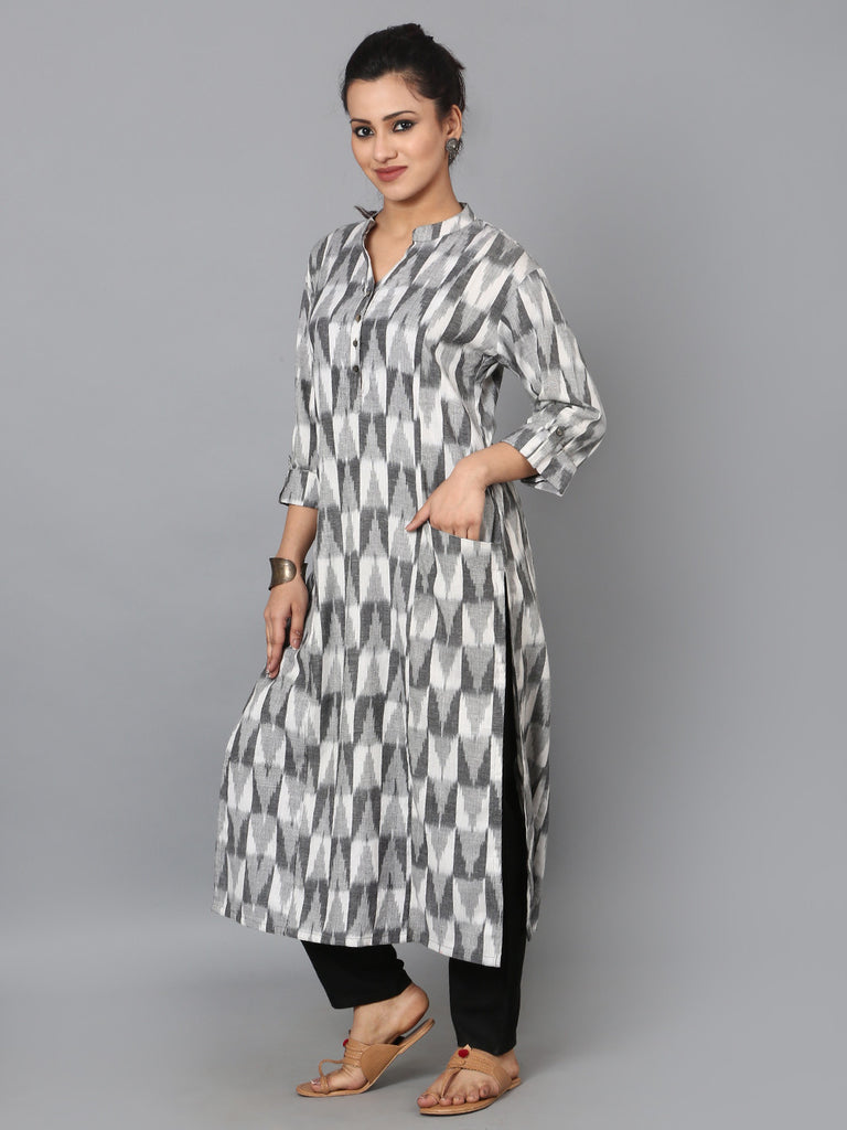 Grey White Cotton Ikat Front Pocket Kurta