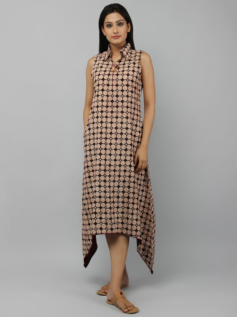 Black Beige Hand Embroidered Cotton Asymmetric Dress