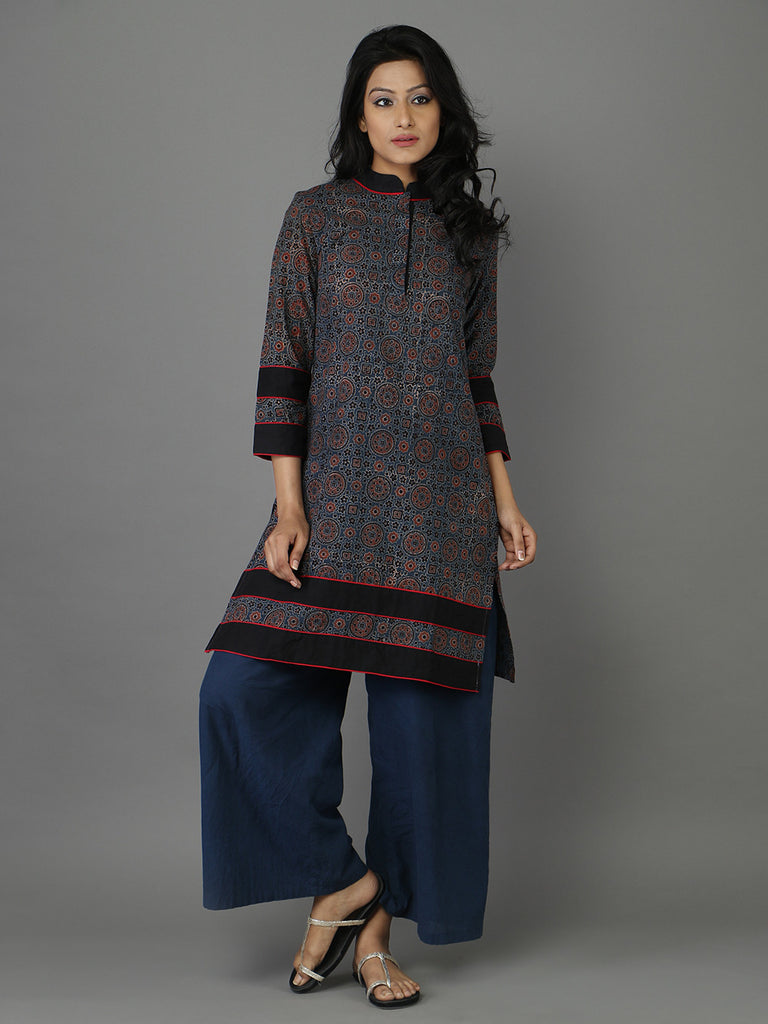 Black Blue Ajrakh Print Cotton Kurta