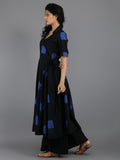 Black Blue Clamp Dyed Cotton Dress