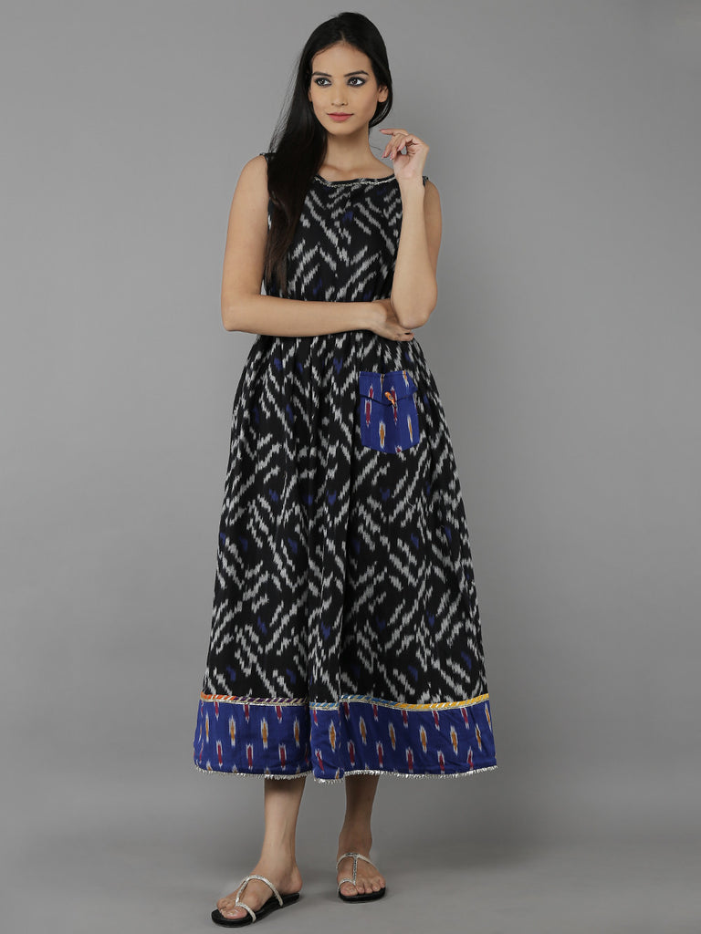 Black Blue Cotton Ikat Dress