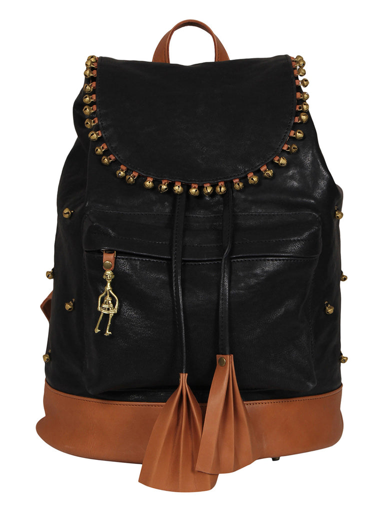 Black Brown Leather Backpack