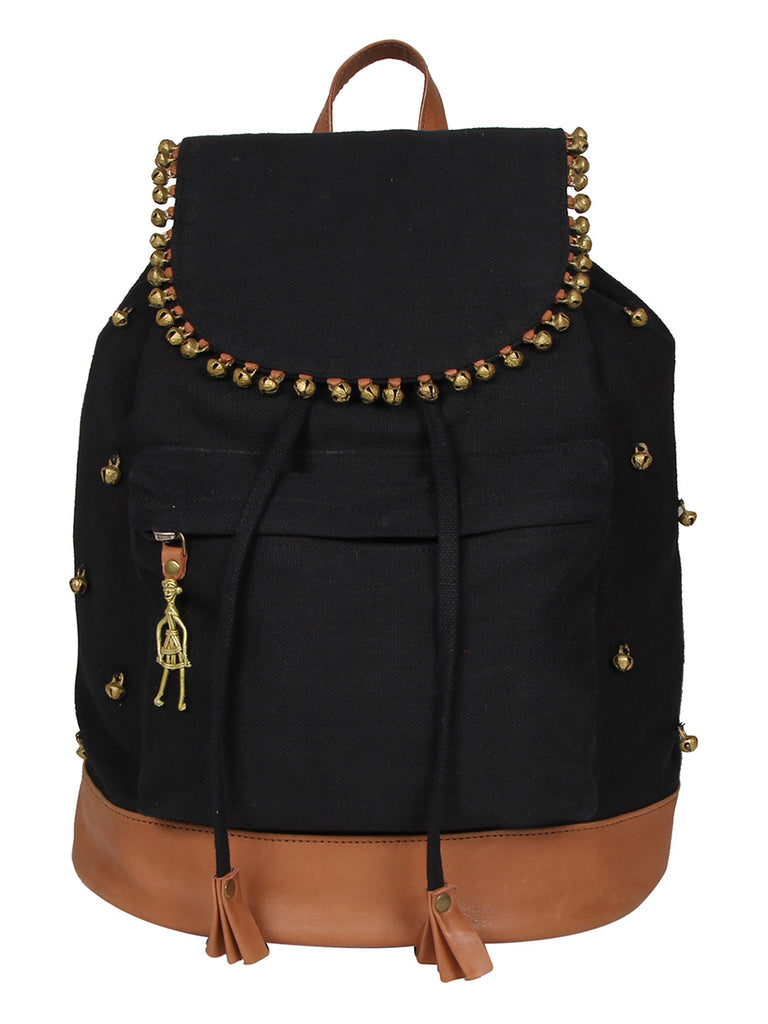 Black Canvas Leather Backpack