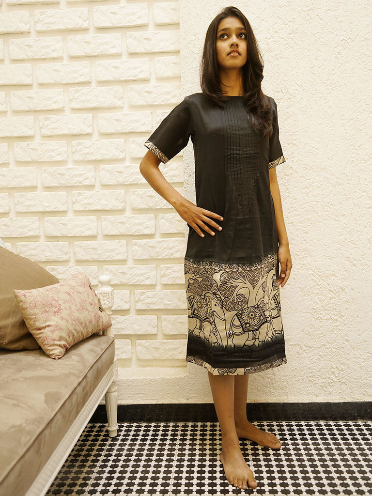 Black Chanderi Heritage Print Dress